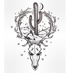 Desert landscape in deer skull with cactus moon vector