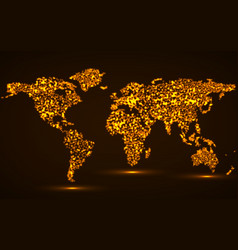 abstract glowing world map vector image vector image
