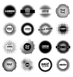 abstract halftone design round elements set vector image
