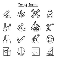 addiction drug icon set in thin line style vector image