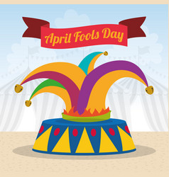 April fools day hat joker ribbon vector