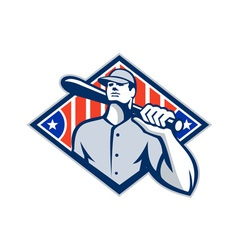 Baseball batter hitter bat shoulder retro vector