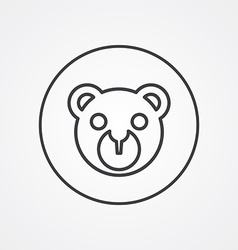 bear toy outline symbol dark on white background vector image vector image