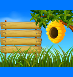 beehive in the garden with blankwood vector image vector image