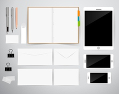 Blank template consist of business cards notebook vector