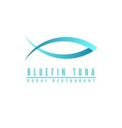 Bluefin tuna logo fish silhouette mockup sushi vector image