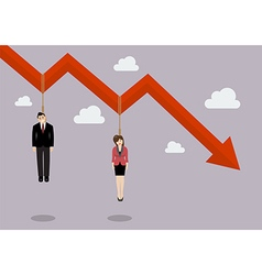 Business people hang on a graph down vector image