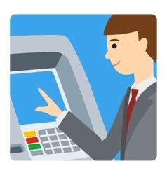 Businessman using atm machine vector