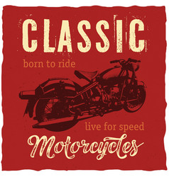 classic motorcycles label design for t-shirt vector image vector image