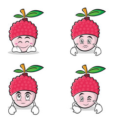 Collection of lychee cartoon character style set vector
