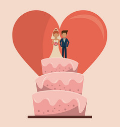 Colorful background of wedding cake with couple of vector