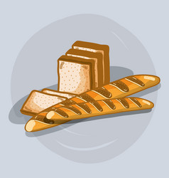 Delicious french bread and chopped bread vector