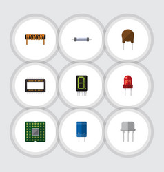 Flat icon electronics set of unit display vector