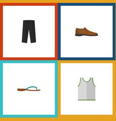 Flat icon garment set of beach sandal singlet vector