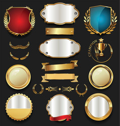 Golden shield laurel wreath and badge retro vector