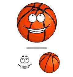 Grinning happy cartoon basketball ball vector