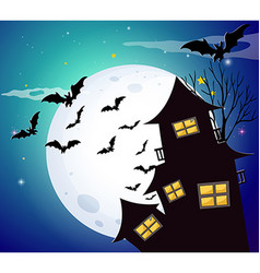Halloween night with bats and haunted house vector image vector image