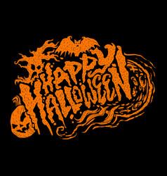 happy halloween text design lettering vector image