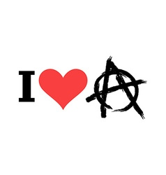 I love anarchy symbol of disorder and chaos emblem vector