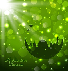 Islamic glow card for Ramadan Kareem vector image