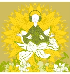 Man sitting in lotus position in lotus flower vector