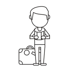 man with travel bag and map thin line vector image