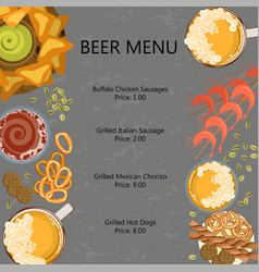 menu template with beer vector image vector image