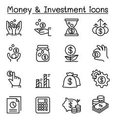 Money investment icon set in thin line style vector
