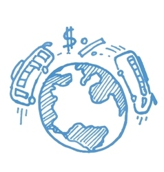 Planet and transport business sketch icon vector