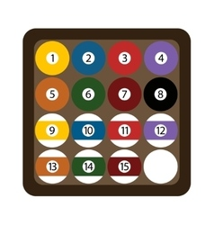 Pool billiard balls rack commonly used starting vector image