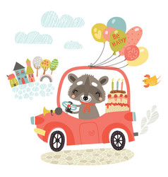 raccoon by car greeting card vector image
