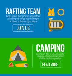 Rafting and camping banners vector
