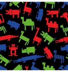 Red green blue digital retro animals pattern eps10 vector