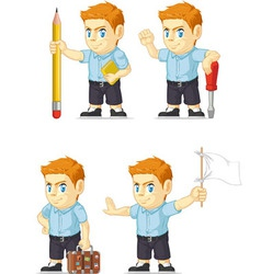 Red head boy customizable mascot 8 vector