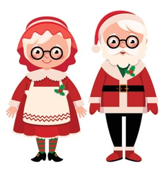 Santa Claus and His Wwife on a White Background vector image vector image