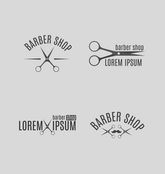 set of grey emblem for barber shop vector image vector image