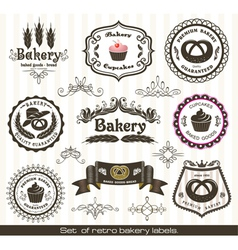 set of vintage retro bakery labels vector image vector image