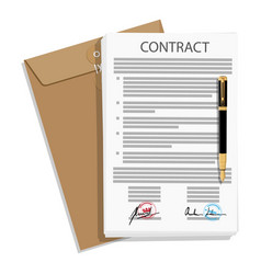 Signed business contract vector