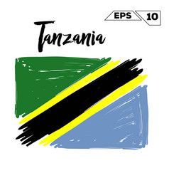 Tanzania flag brush strokes painted vector