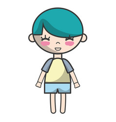 tender boy child with pijama and hairstyle vector image