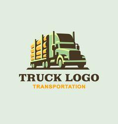 Truck logo transportation of wood vector