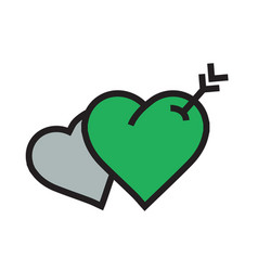 Twins heart arrow icon green color vector