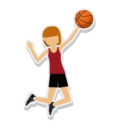 Person figure athlete basketball sport icon vector