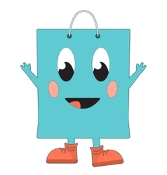 Happy shopping bag vector