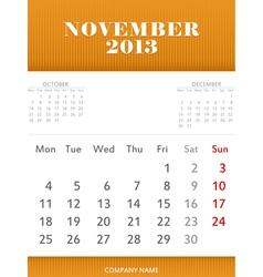 November 2013 calendar design vector image