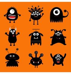 Black monster big set cute cartoon scary vector