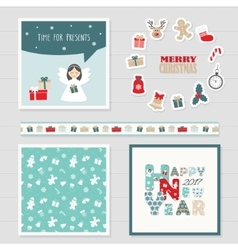 Merry christmas and happy new year 2017 set vector