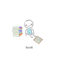 Reader of books vector