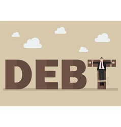 Businessman crucified on debt vector
