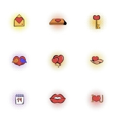 14 february icons set pop-art style vector